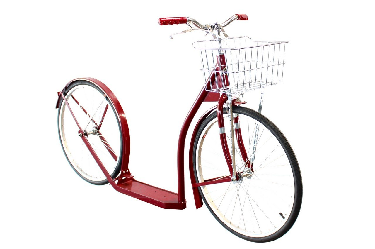Amish-Made Deluxe Kick Scooter Bike - 24'' Wheel (Adult Size) (Maroon)