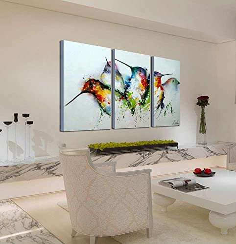 ARTLAND Modern 100 Hand Painted Framed Wall Art Colorful Birds 3-Piece Animal Oil Painting on Canvas for Living Room Artwork for Wall Decor Home Decoration 28×42 inches