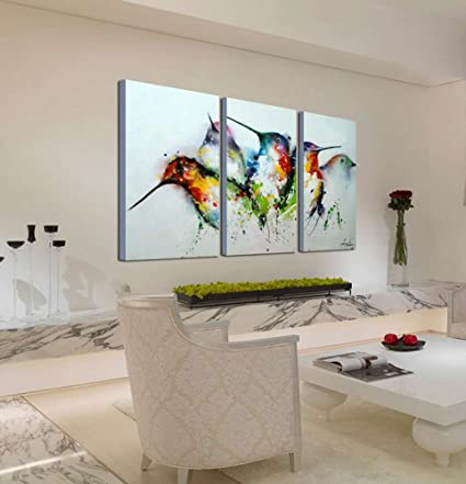 ARTLAND Modern 100% Hand Painted Framed Wall Art Colorful Birds 3 Piece  Animal Oil