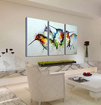Terrific Artland Modern 100 Hand Painted Framed Wall Art Colorful Birds 3 Piece Animal Oil Painting On Canvas For Living Room Artwork For Wall Decor Home Interior Design Ideas Gentotryabchikinfo