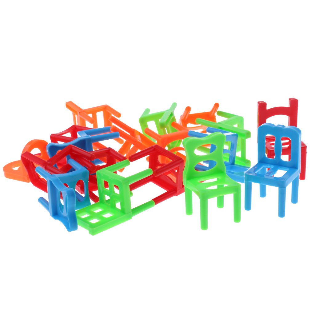 MagiDeal Kids Balance Chairs (18 Pieces) Board Game Stacking Puzzle Toys Family Fun