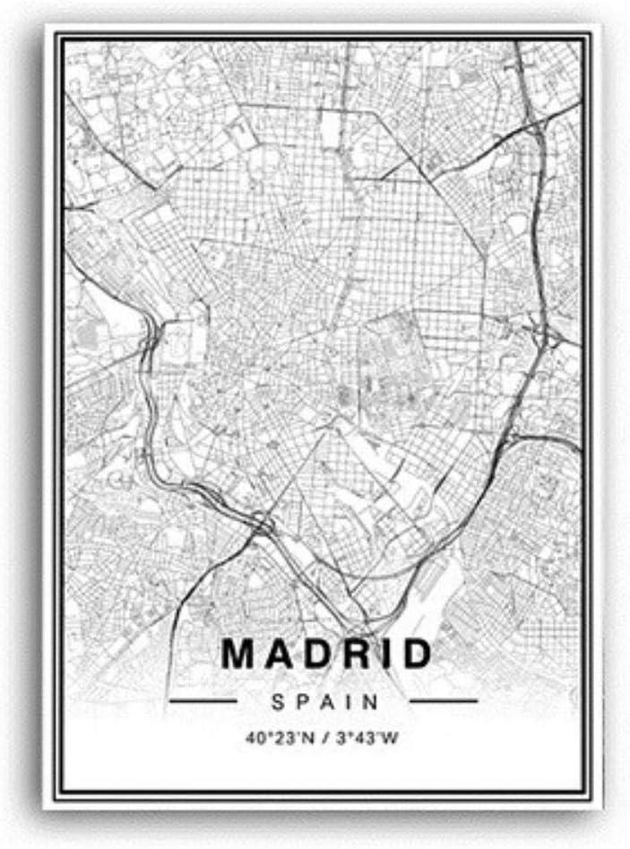 XIAOJIE0104 Blanco y Negro Madrid Mapa de la Ciudad Latitud Longitud Impresiones Cartel Minimalista Lienzo Pintura Arte Digital Cuadros de Pared, A, 50x70 cm sin Marco: Amazon.es: Hogar