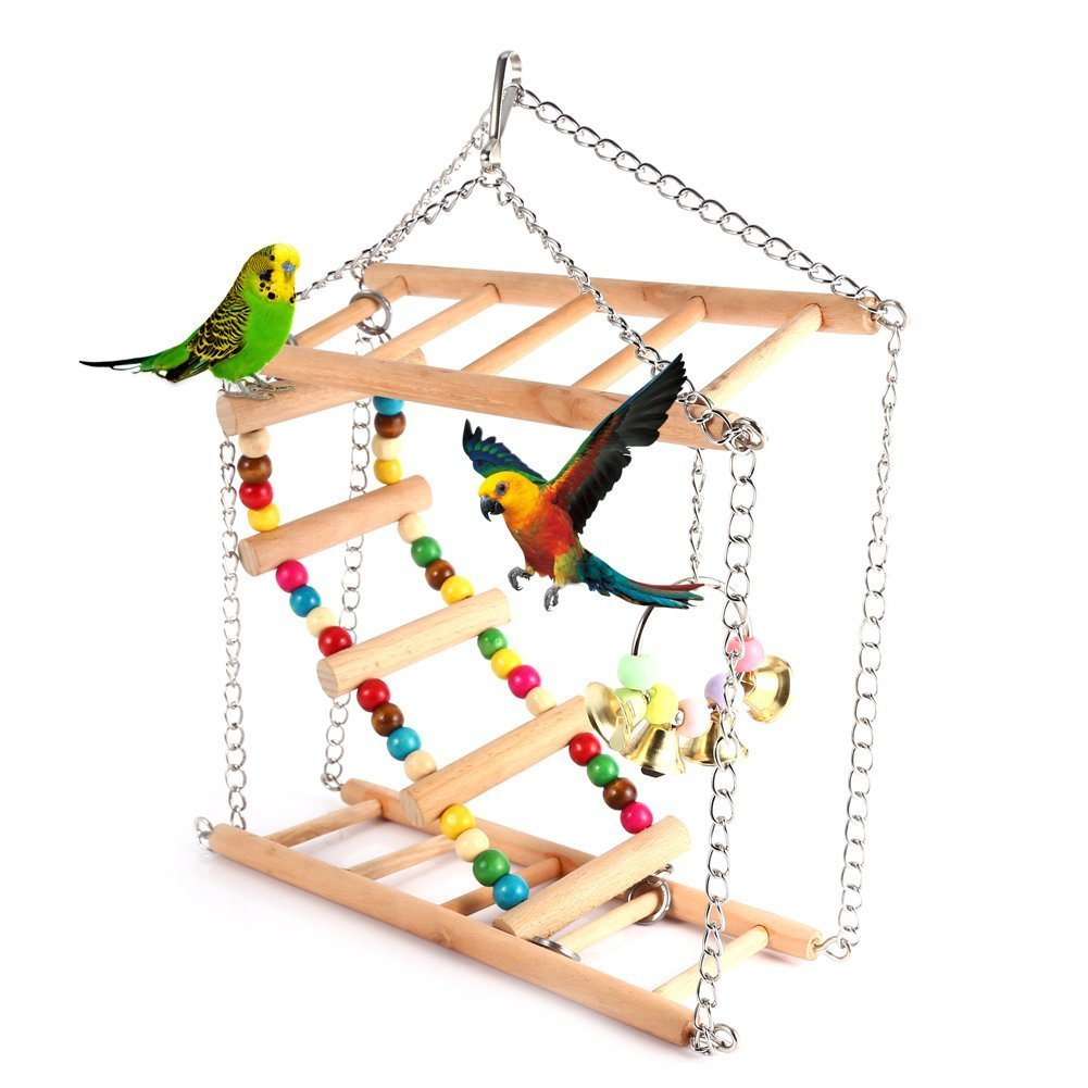Yosoo Pet Hanging Ladder Wooden Suspension Bridge Steps Stairs Climbing Swing Double-Layer Toys for Bird Parakeet Hamster Budgie Cockatiel Parrot Hammock Cage Toy by Yosoo