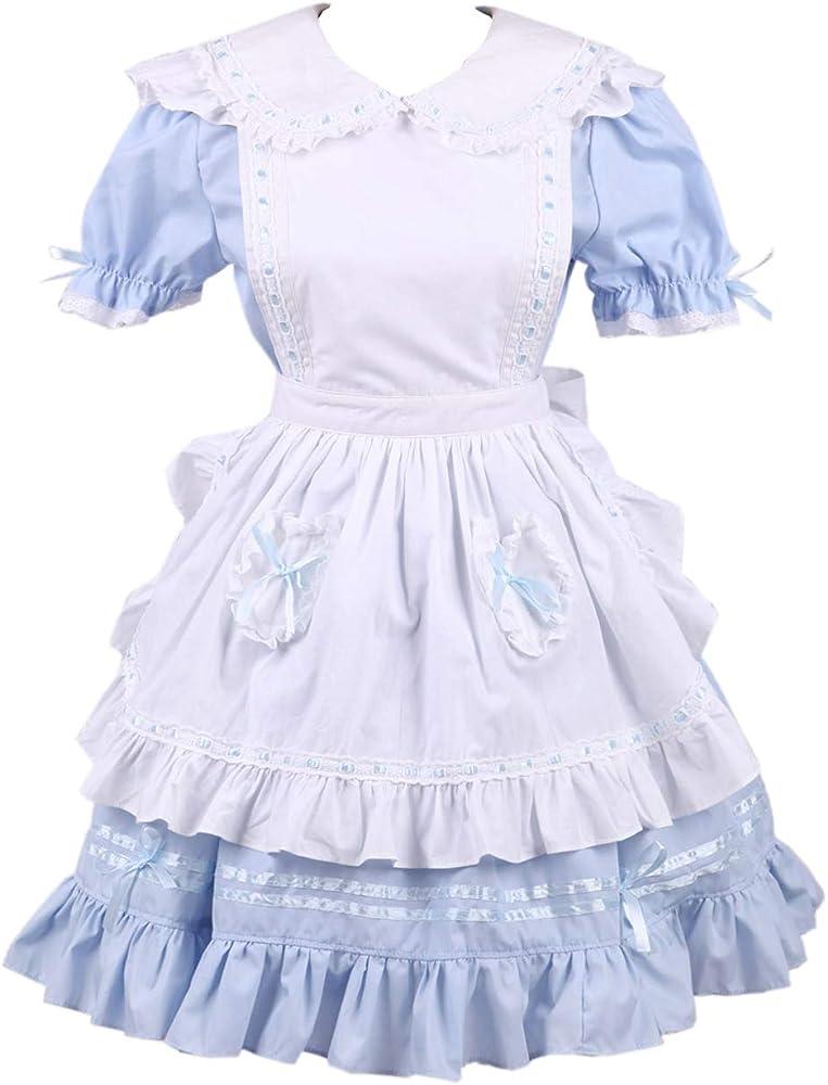 Antaina Delantal de algodón Blanca Azul con Volantes Bowknot Sweet ...