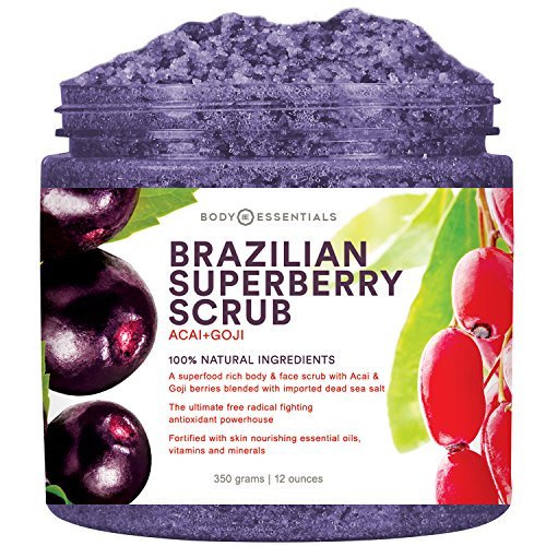 Acai Extract Brazilian Berry (Body Essentials Brazilian SuperBerry Scrub - Acai and Goji Berry Antioxidant Scrub - Dead Sea Salt - 100% Natural Ingredients - Antioxidant Power For Skin - Essential Oils - Paraben/Sulfate Free)