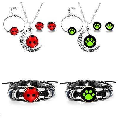 JOJO & LIN 8pcs/set Ladybug Pendant Necklace and Bracelet Earrings Set For Girls Children Toys Birthday Party Gift: Clothing