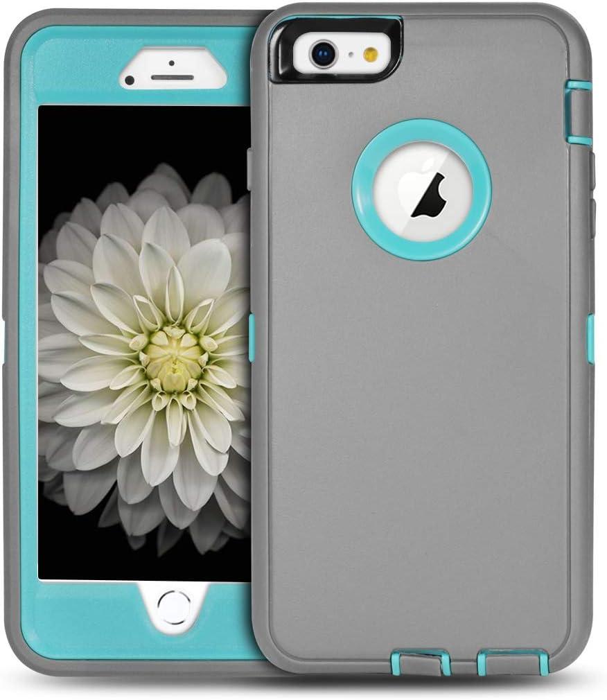 iPhone 6S Plus Case,UOVSI [5.5 Inch] for iPhone 6S Plus/6 Plus Hybrid Protective Defender 3-Layer Design Heavy Duty Shock-Resistant Dustproof Case Cover (Grey/Blue)