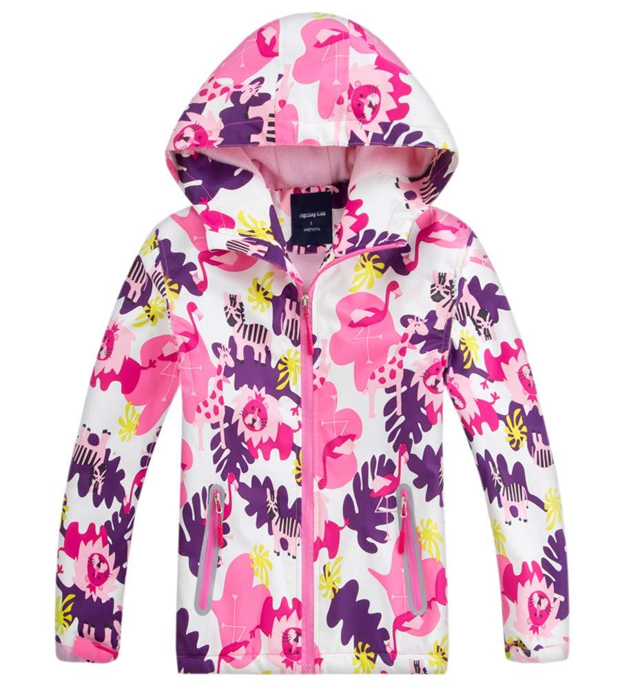 Kids Girl's Floral Fleece Lined Waterproof Hoodie Rain Jacket Coat, Hooded Outdoor Outerwear for Kids Girls, Pink, US 4-5 Years (4t-5t) =Tag S