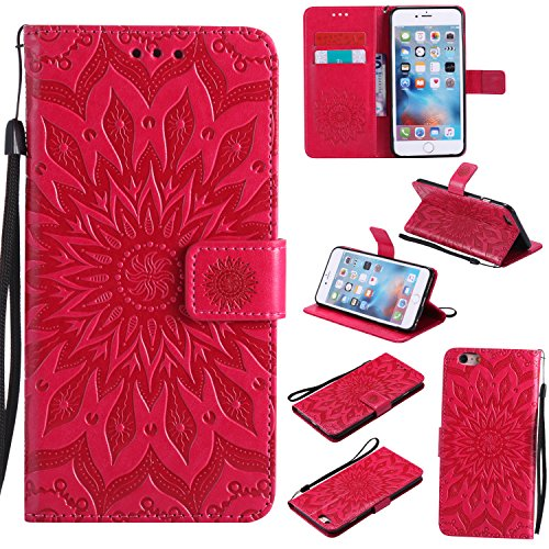 Price comparison product image Protective Case for iPhone 6 Plus,iPhone 6S Plus Case Leather Wallet,Gostyle Sun Flower Pattern Embossed Stand Feature PU Flip Cover Magnetic Closure with Card Slots Holder and Lanyard Strap(Red)