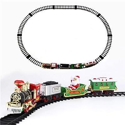 GAOJIEJM Bloques insertados Hechizo de Bricolaje Luces fumarán simulación Sonido clásico Tren de Vapor ferrocarril Coche Regalos de cumpleaños: Hogar