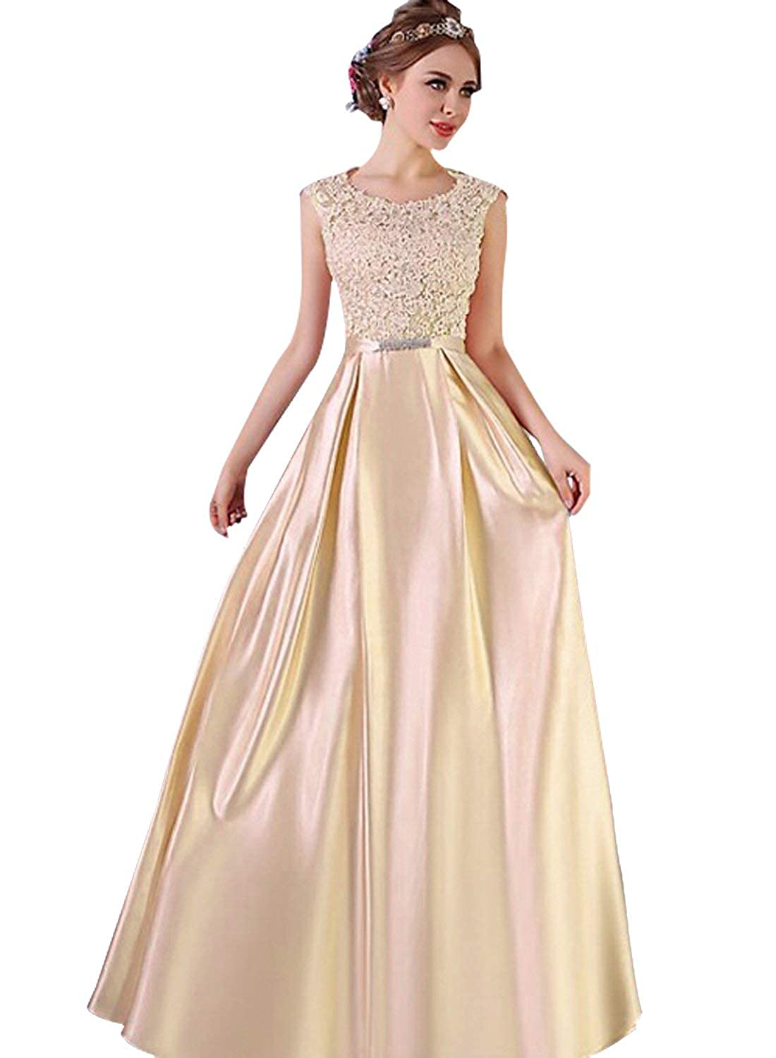 Champagne Dressytailor Aline Scoop Neck Satin FloorLength Fabulous Appliques Lace Prom Dress