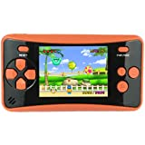 "HigoKids Portable Handheld Games for Kids 2.5"" LCD Screen Game Console TV Output Arcade Gaming Player System Built in 182 Classic Retro Video Games Birthday for Your Boys Girls(Orange)"