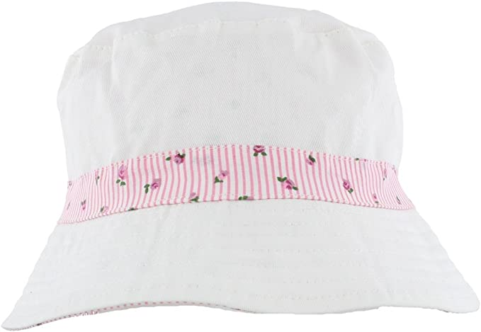 A1401 Ladies Reversible Cotton Summer Bucket Hat Blue or Pink