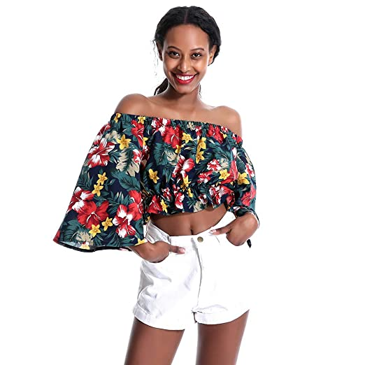 c1ac7202245f9 Willow S Fashion Women  S Off Shoulder Flare Sleeve Floral Print T-Shirt  Casual