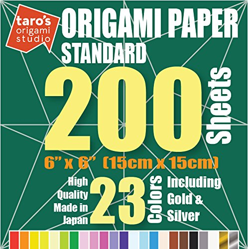 ([Taro's Origami Studio] 23 Colors 200 Sheets 6x6 Inch Standard Single Sided Origami Paper Made in Japan)