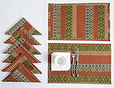 Reversible Printed Cotton Fabric 200TC; 6 Placemats 6 Napkins Set; Spring Decorations for Home