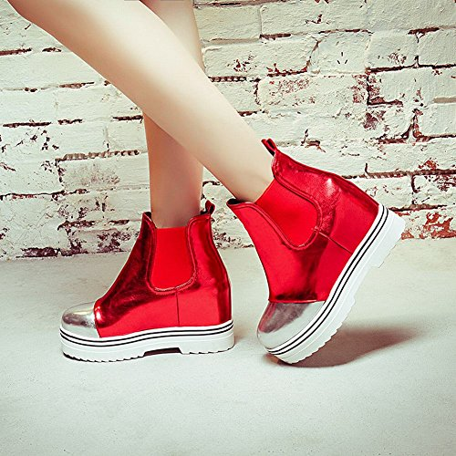 Charm Foot Womens Chic High Top Platform Stivali Western Rosso