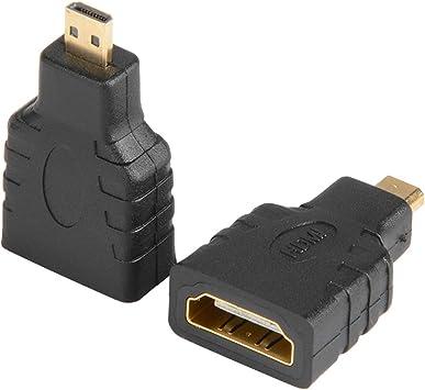 J&D Pack de 2 Micro HDMI a HDMI Adaptador, Chapado en Oro HDMI ...