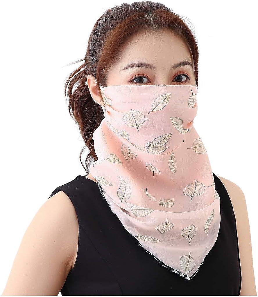 riou Damen Mundschutz Halstuch Face Shield Multifunktionstuch Gesichtsmaske Sommer UV-Schutz Atmungsakti Chiffon Tuch