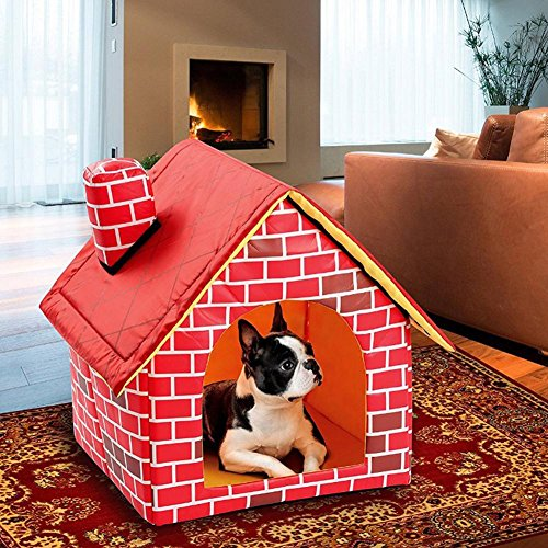 Soarflight Dog House Removable Washable Kennel Shaped Red Brick Dog Bed Single Room Chimney House Foldable about 3940.544cm/15.3515.9417.32in Review