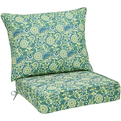 AmazonBasics Deep Seat Patio Seat and Back Cushion- Blue Flower (Wicker Outdoor Martha Furniture Stewart)