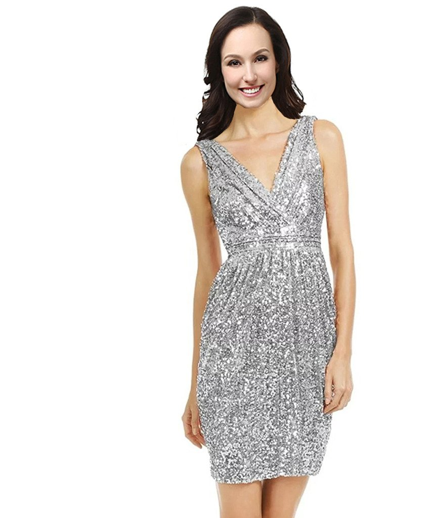 Lemai V Neck Sequined Short Prom Cocktail Bridesmaid Dresses Plus Size Silver US 18W