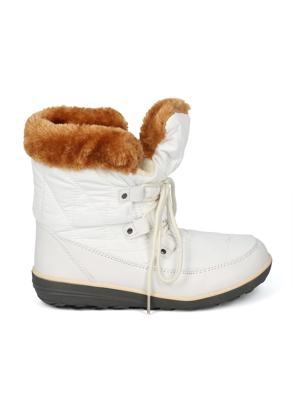 Alrisco Faux Fur Trim Lace up Outdoor Winter Boot HG06 B078MTKDF2 6.5 M US|White Mix Media