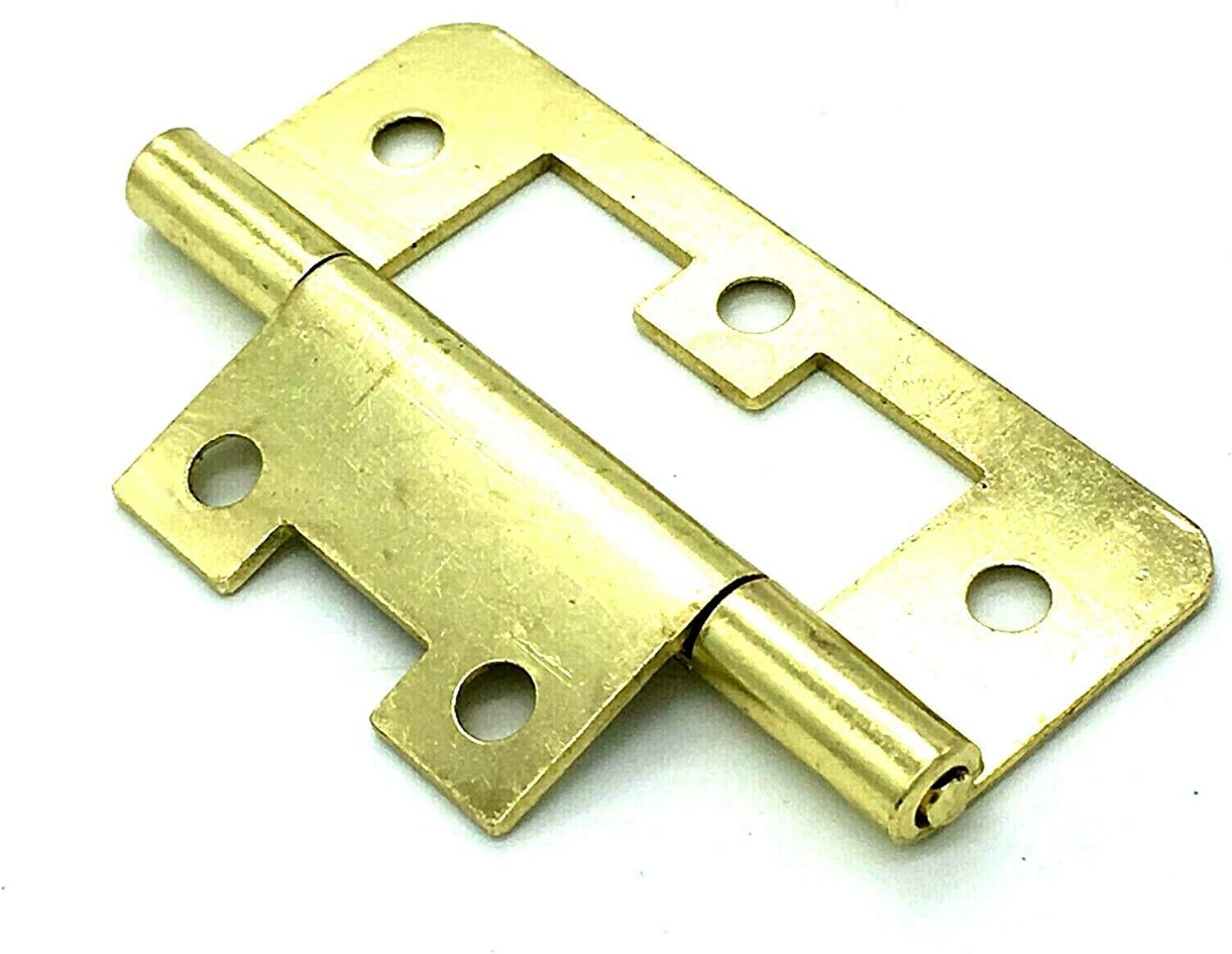 2 x Flush Hinges 63mm Easy fix Surface Mount Brass Plated Cupboard Door Hinges