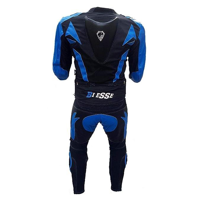 BIESSE - Traje de moto para adulto de piel y tela, divisible en 2 piezas, chaqueta y pantalón, ajustable, color negro/rojo, negro/azul y blanco/rojo, ...