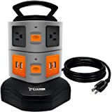 Power Strip Smart 6 Outlet 4 USB Output 6 Feet Cable Socket,Costech Handle Vertical Multiple Surge Overload Protection for Iphone,Samsung, More Electronic Devices
