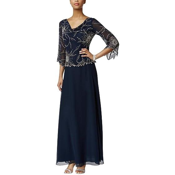 J Kara Womens Beaded Popover Evening Dress at Amazon Women\'s ...