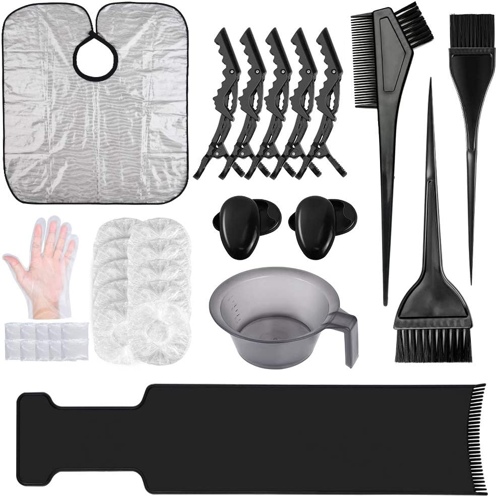 33PCS Hair Dye Brush and Bowl Set, Hair Dye Coloring Kit with Hair Tinting Bowl,Dye Brush,Ear Cover,Gloves,caps,Highlighting Board,clips and Coloring Cape For Salon/Home Hair Coloring Hair Dye