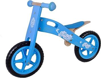 Bicicleta del Niño sin Pedales de Madera 12 pulgadas Azul Blanco ...