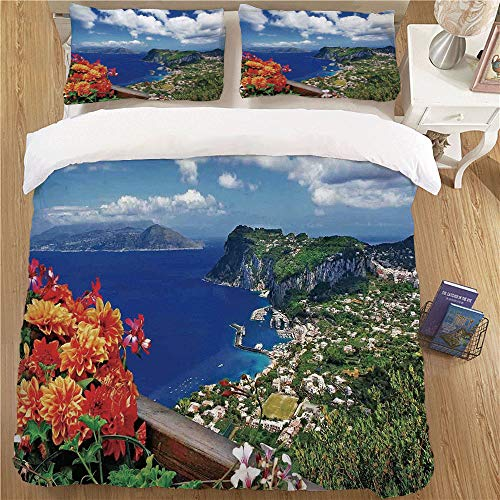 - Bedding Duvet Cover Set,King Size,3pc for Children's Bedroom Island Scenic Capri Island Italy Mountain Houses Flowers View from Balcony Landmark Blue Green Orange