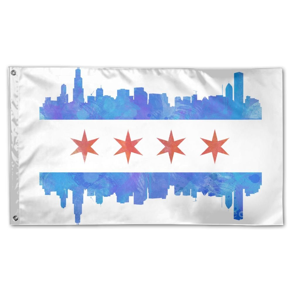 Chicago City Flag Garden Flag 3x5 FT For Indoor Or Outdoor Holiday Decorative Banner