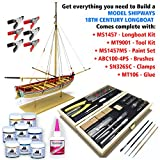 model boat wood - Model Shipways MS1457TL 18th Century Long Boat Kit - Wood, Plank-On-Frame Construction Kit with Tools, Paint & Glue