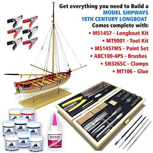 Model Shipways MS1457TL 18th Century Long Boat Kit - Wood, Plank-On-Frame Construction Kit with Tools, Paint & Glue