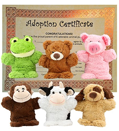 Puppet Zoo-Plush Hand Puppet Set includes Frog, Teddy Bear, Monkey, Pig, Dog, Cow ()