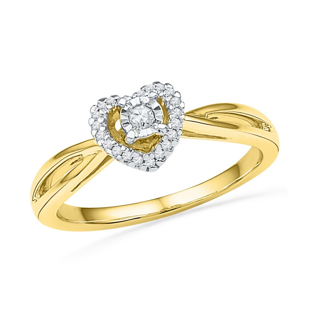 10kt Yellow Gold Womens Round Diamond Heart Love Solitaire Ring 1/8 Cttw (I2-I3 clarity; J-K color)