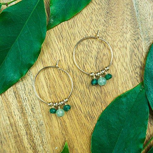 Boho aventurine hoop earrings in 14k gold fill ()