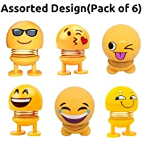 A ONE Gallery Pack of 6 Emoji/Smiley Spring Doll,Cute Emoji for Car Dashboard Bounce Toys,Emoticon Figure Funny Smiley Face Springs Car Decoration for Car Interior Dashboard Expression BobbleHead
