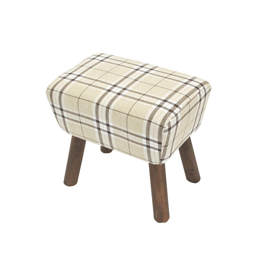 C Aijl Footstool, Household Solid Wood Fabric Stool Living Room Small Bench Hall Change shoes Bench 51  34  47cm (5 colors) (color   D)