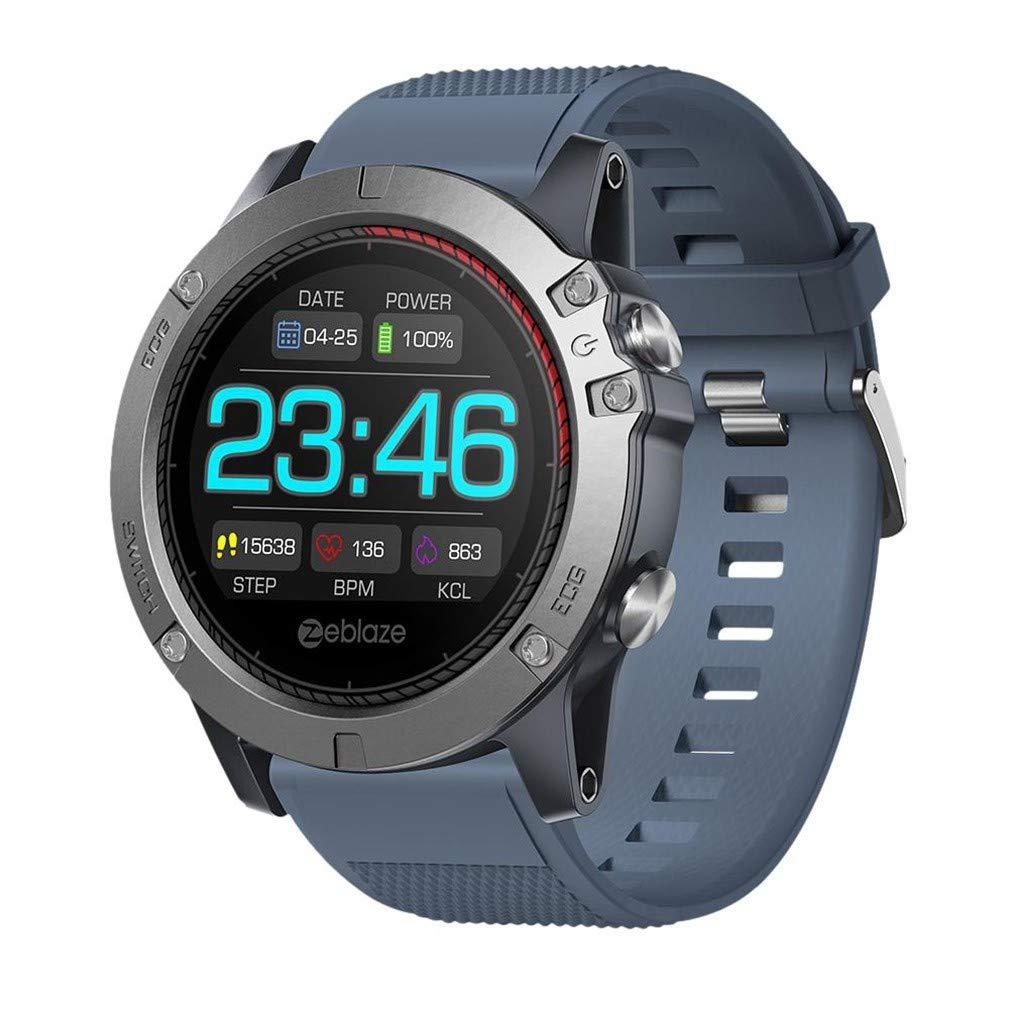 ECGスマートブレスレット、フィットネストラッカースクリーンカラーIP67防水心拍数血圧モニタースマートウォッチ、アンドロイドとiOS用の全くユニークな3Dインターフェース B07T1HB6CM blue