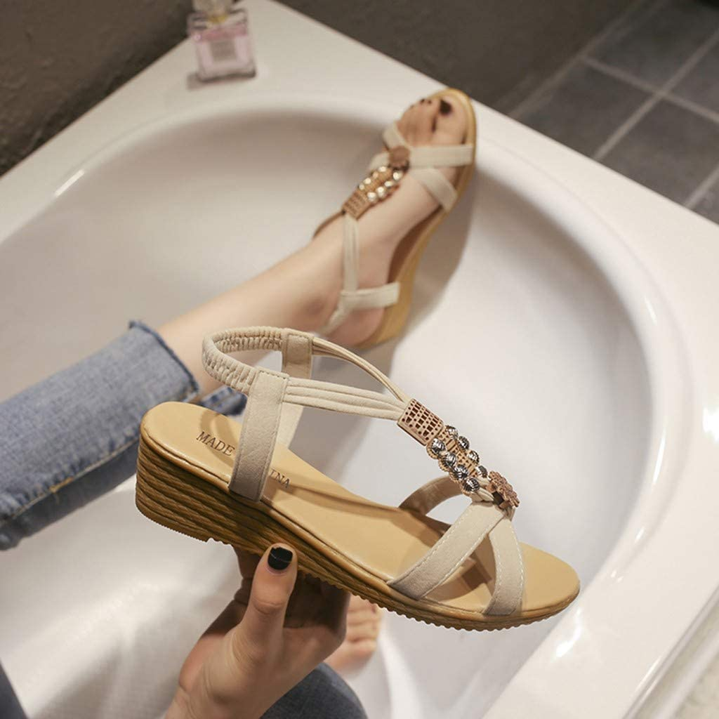 Sandals Fashion Beaded Beach Student Sandals Mallcas T-Tied Sandals Elastic Flatform Sliders Shoe Fashion