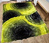3D Shaggy Fluffy Fuzzy Furry Shimmer Area Rug Carpet Contemporary Modern Living Room Bedroom Soft 5×7 Yellow Black Gray Grey Colorful Two Tone Color Cheap Discount Sale ( SAD 419 Yellow Black Gray ) Review