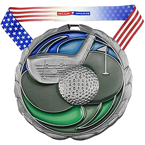 Medallion 2.5 Inch Silver Medallion - Decade Awards Golf Color Medal, Silver - 2.5 Inch Wide Second Place Tournament Medallion with Stars and Stripes American Flag V Neck Ribbon