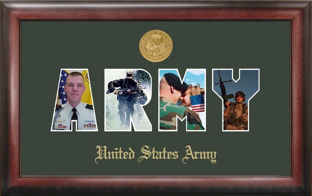 Patriot Army Collage Photo Frame with Gold Medallion