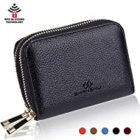 Card Holder Wallets for Women,SHANSHUI RFID Credit Card Holder Wallet Made from Primely Genuine Leather(Black)