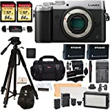 Panasonic DMC-GX8SBODY LUMIX GX8 Interchangeable Lens DSLM Camera Body Only + Transcend 64 GB 2 Pack + Polaroid 72 Inch Tripod + LED Light and Flash Kit + 2 Spare Batteries + Charger + Accessory Kit