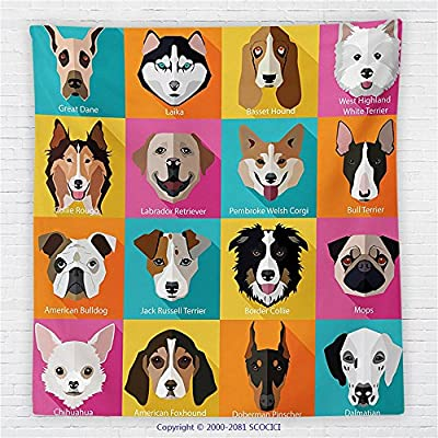 59 x 59 Inches Kids Decor Fleece Throw Blanket Pattern with Dogs Retro Popart Style Bulldog Hound Cartoon Print Art for Dog Lovers Blanket Pink Blue Yellow